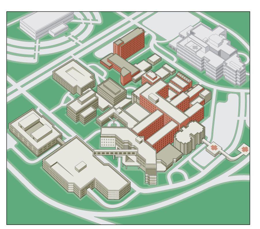3D isometric hospital campus map illustration | 3D Campus ...