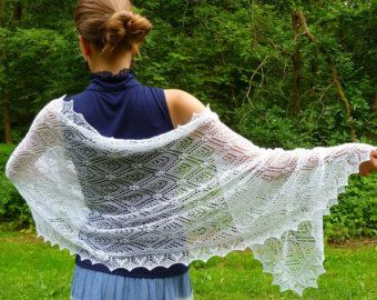 MADE TO ORDER Wool Lace Shawl Hand Knitted Natural White Estonian
