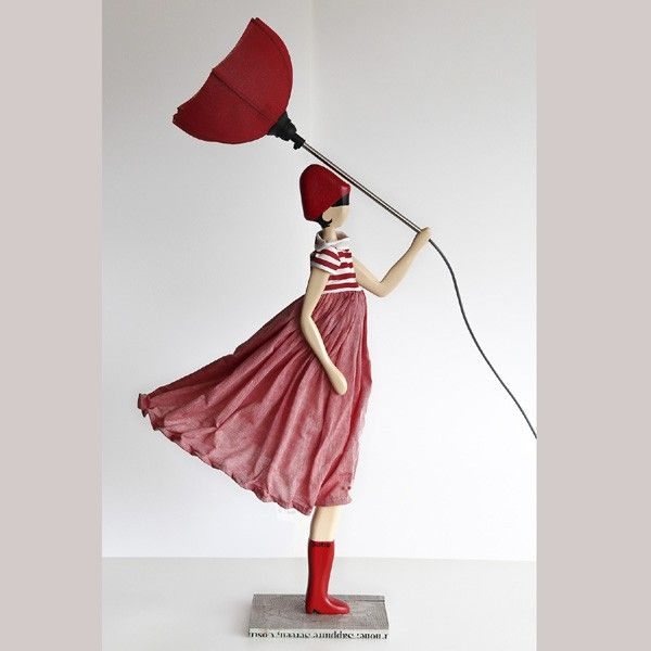 Wooden Table Lamp Girl With Umbrella Lamp Tischlampen Lampe Lampen