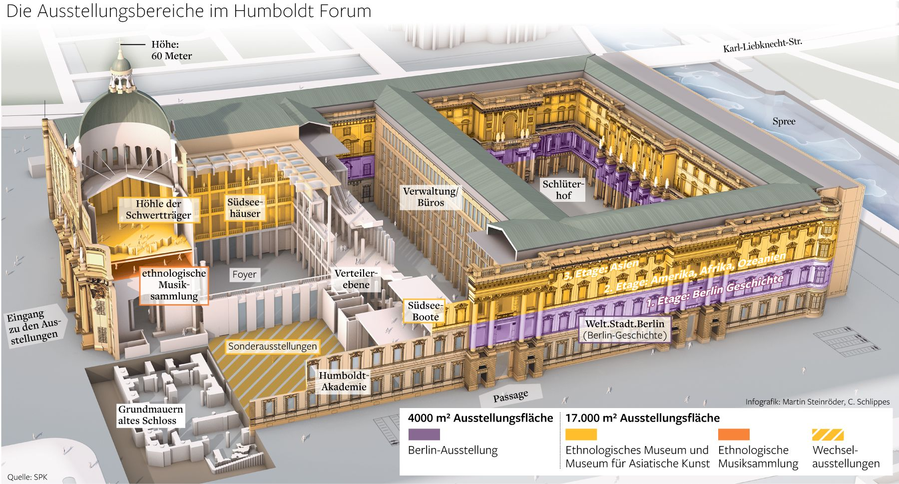 Blick Auf Das Neuerrichtete Stadtschloss In Berlin Aufteilung Der Geschosse Hier Findet Das Humboldtforum Seinen Plat Stadtschloss Schloss Berliner Schloss