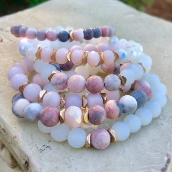 Gemstone Jewelry, Dendritic Rhodonite Matte Beaded Bracelets, Rose Gold Bracelet, Stretch Bead Brace #gemstonejewelry