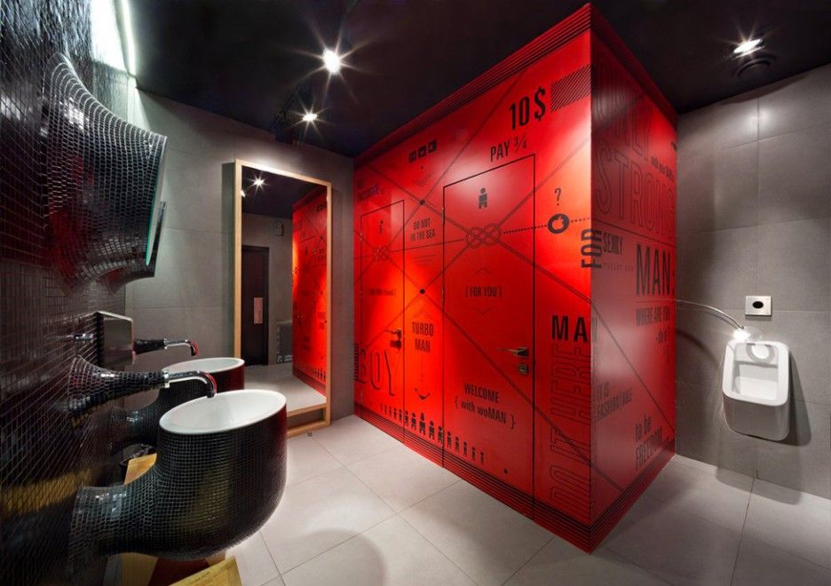 awesome restaurant design with ropes decoration stylish bathroom design red cabin odessa restaurant in kiev - Restaurant Bathroom Design