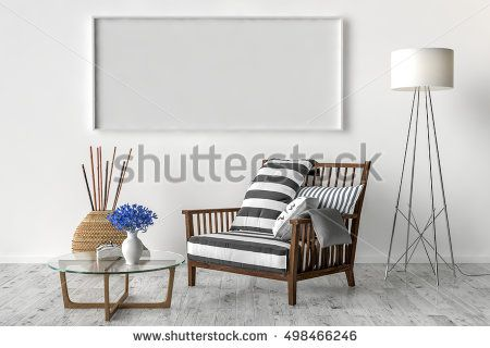 Solo chair and blank picture frame background, 3d render | My stock ...