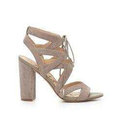 9832b203b Yardley Lace-Up Heeled Sandal by Sam Edelman - Putty Suede