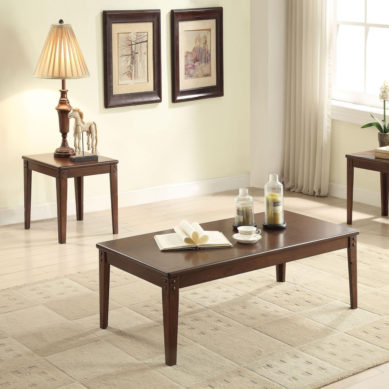 Acme Furniture Makani 3 piece Walnut Coffee and End Table Set 3