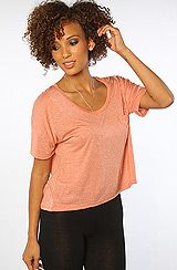Obey The Gym Fashion Crop Pocket Solid Tee in Burnt Sienna