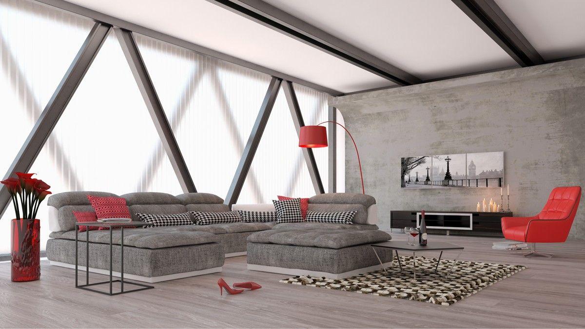 David Ferrari Panorama Italian Modern Grey Fabric And White Leather Sectional Sofa Sofas Living Room