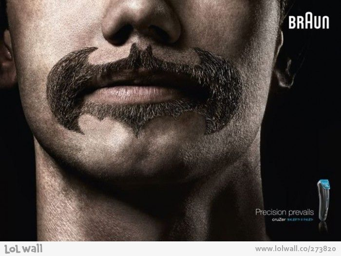 This ad uses humor as well as brand postioning because of the batman logo. Also shows how percise of a shave a man can get.