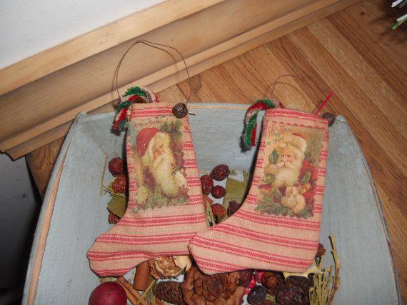 Mini Santa stockingsprimitive Santa by mylittlebitofcountry