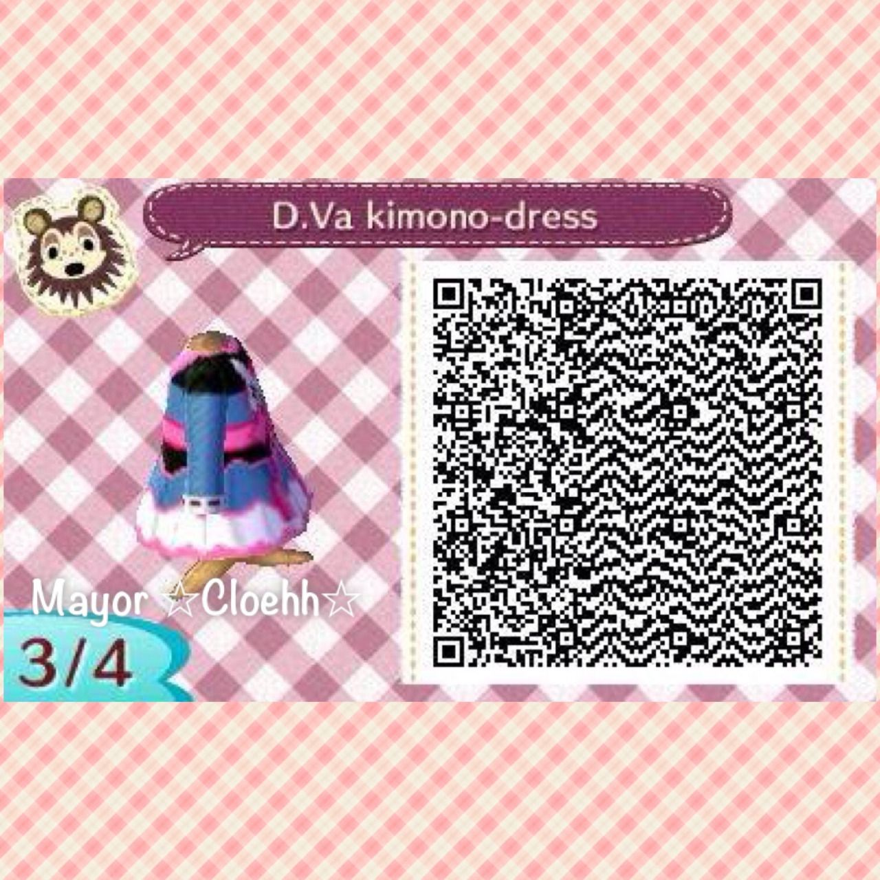 I made this today! D.Va ( Overwatch by Blizzard ) In New Leaf! The kimono dress design is based from Darling Army, who makes wonderful cosplay kimonos! Here's the QR codes, enjoy! I will make more...
