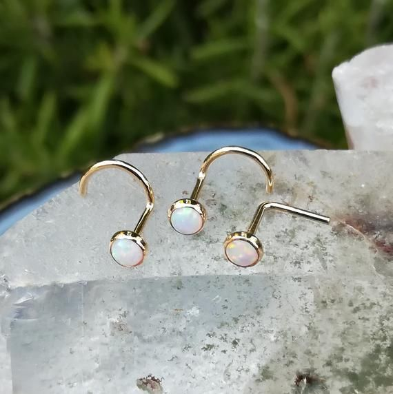 Nose Ring - Nose Stud - Nose Piercing - Helix Earring - Tragus Earring - Nose Jewelry - 14K Yellow G #doublenosepiercing