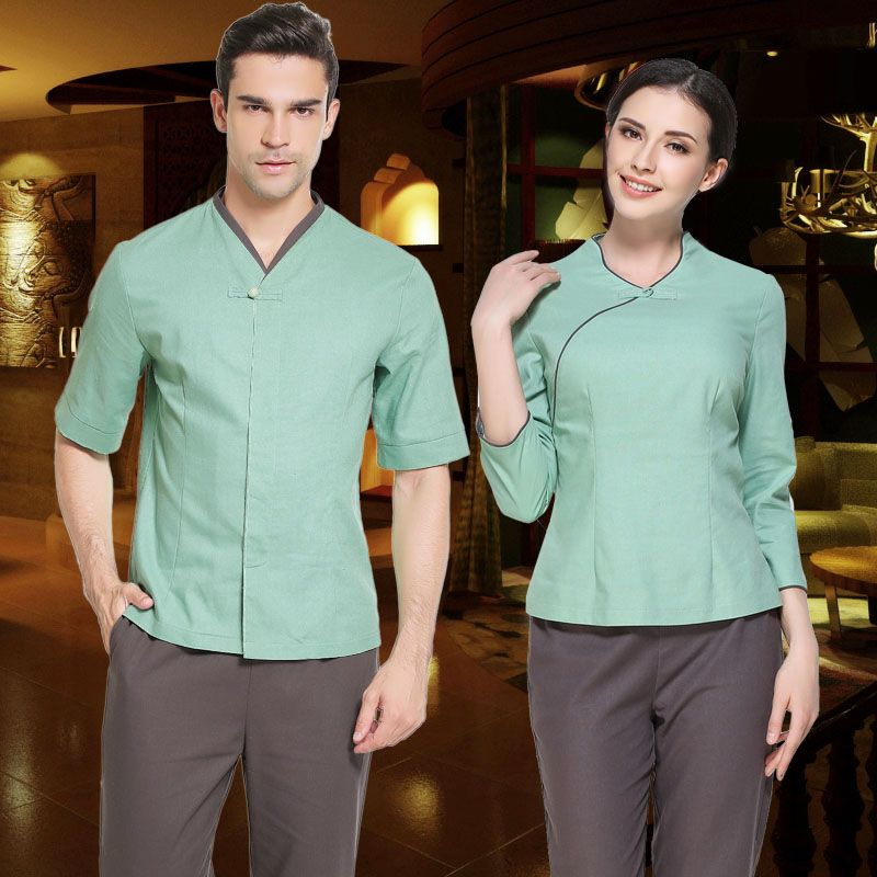 Beauty preservation longevity club uniform men and women for Hotel uniform spa