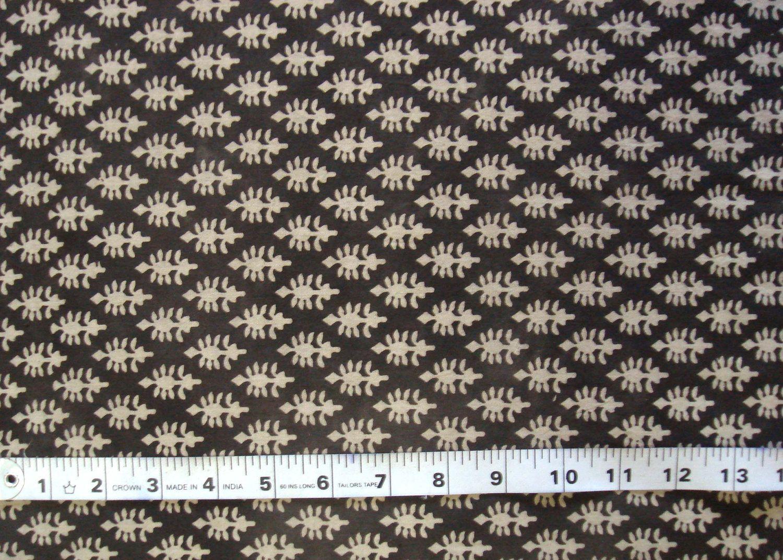 hand block print cotton fabric - beige on charcoal grey indian motif