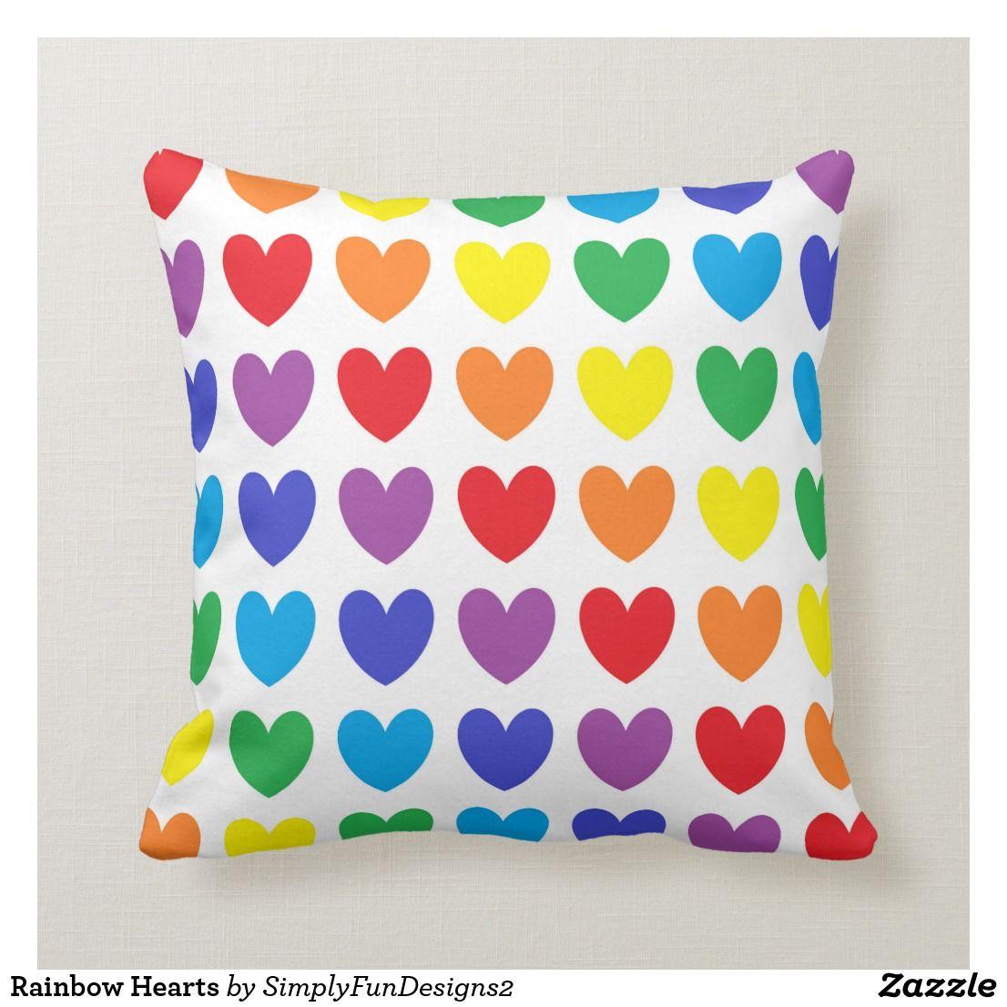Rainbow Hearts Throw Pillow Pillow Throwpillow Decorative Homedecor Interiordesign Throw Pillows Pillows Custom Throw Pillow
