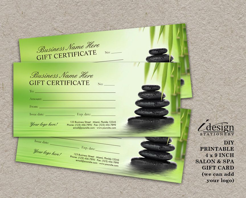Salon Gift Certificate Printable Spa Gift Card Massage Therapist