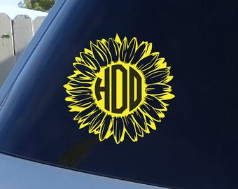 Sunflower Monogram Car Window Decal Initials By JensVinylDecals - Monogram car decal sticker