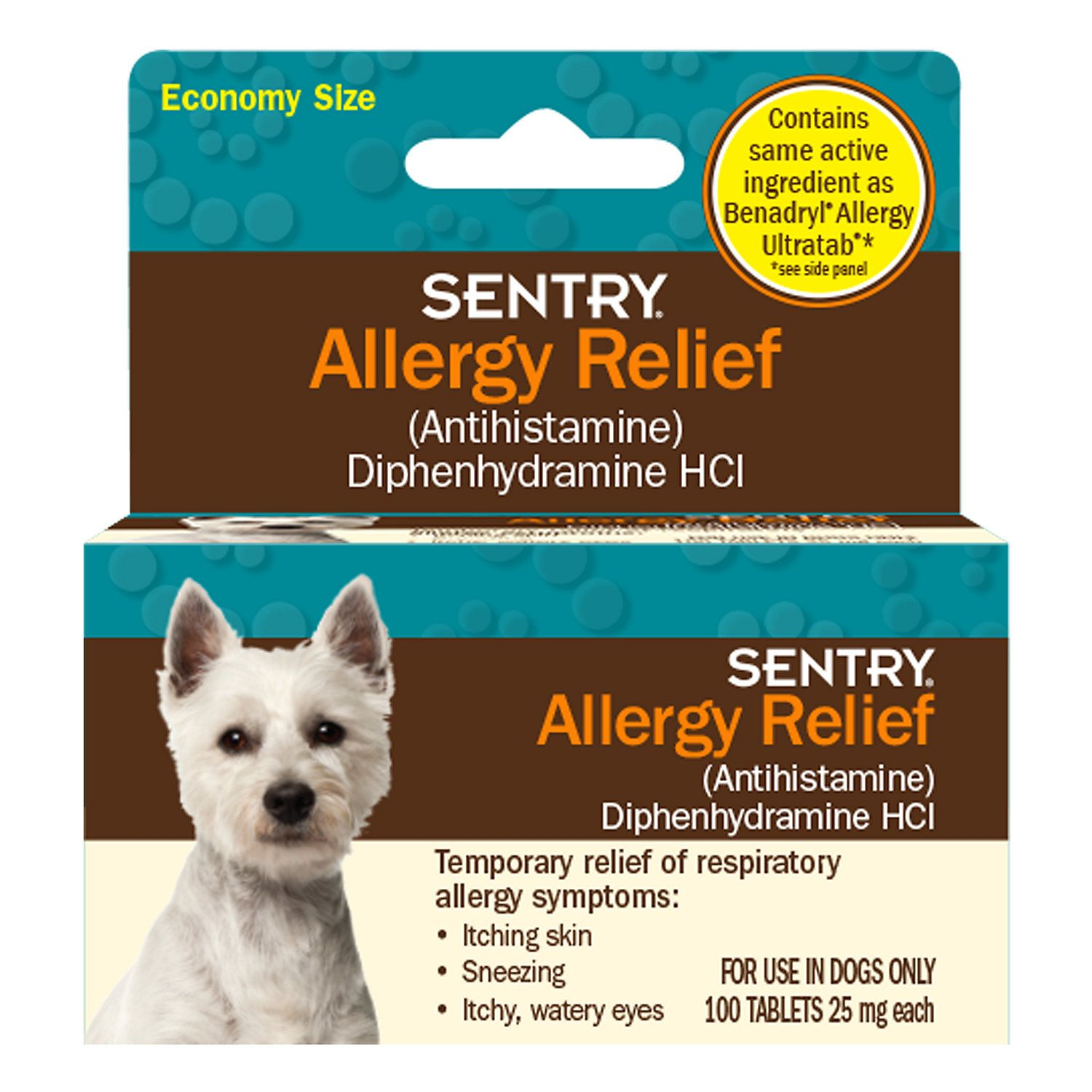 Sentry Allergy Relief Dog Tablets 100 Count Allergy Relief