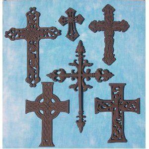 6 PC Decorative Wall Crosses Rustic Christian Western Church Religious  Decor  Set #3