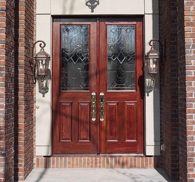 Mahogany Entrance   Custom Triple Glaze Leaded Glass Design Over 2 Panel  Door