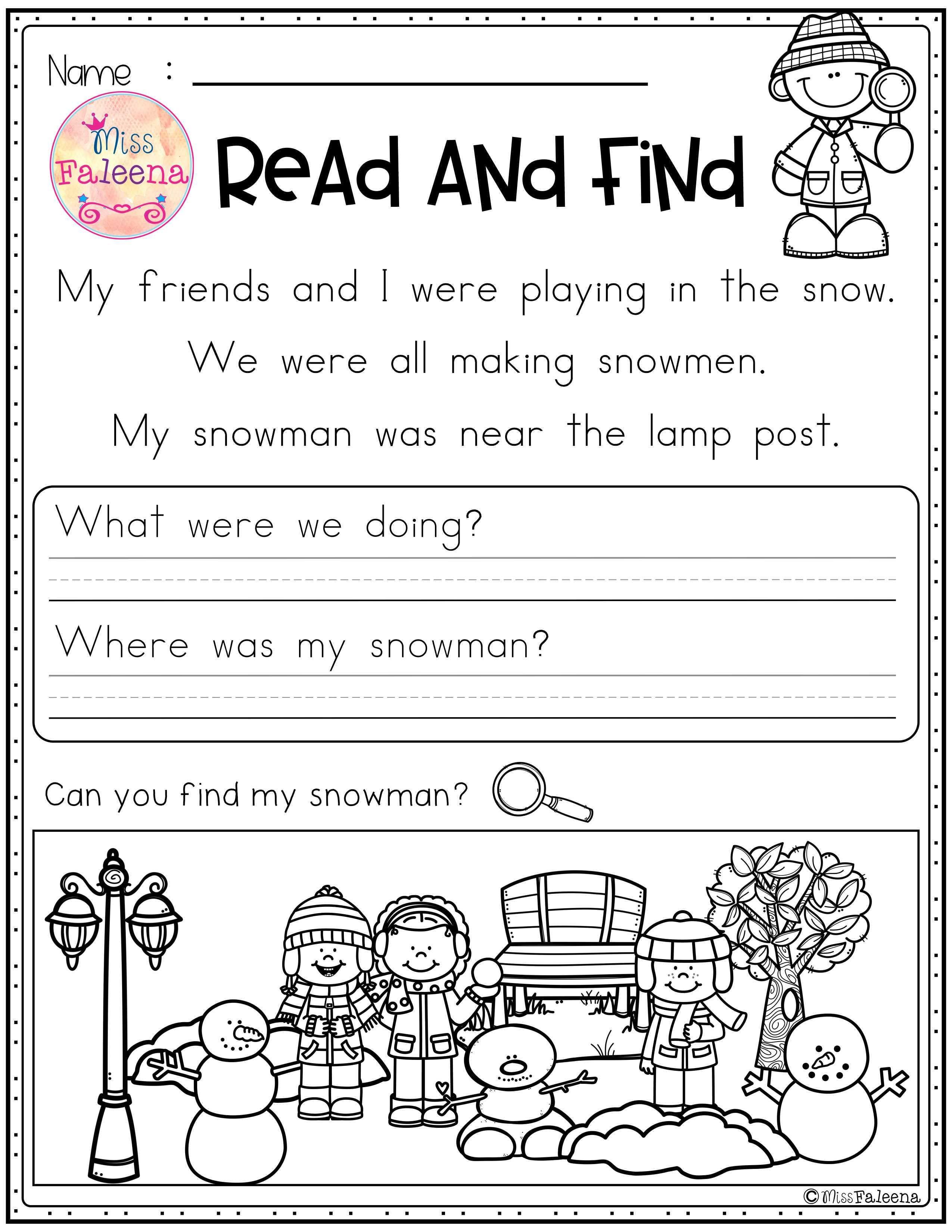 Winter Kindergarten Worksheets Reading   Printable Worksheets and  Activities for Teachers [ 3300 x 2550 Pixel ]