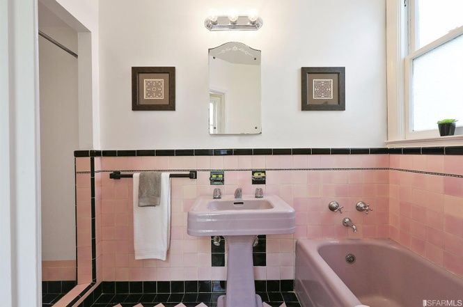 1936 Pink And Black Art Deco Bathroom 1591 43rd Ave San