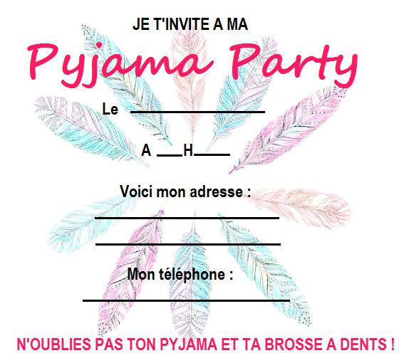 lovely carte invitation pyjama party