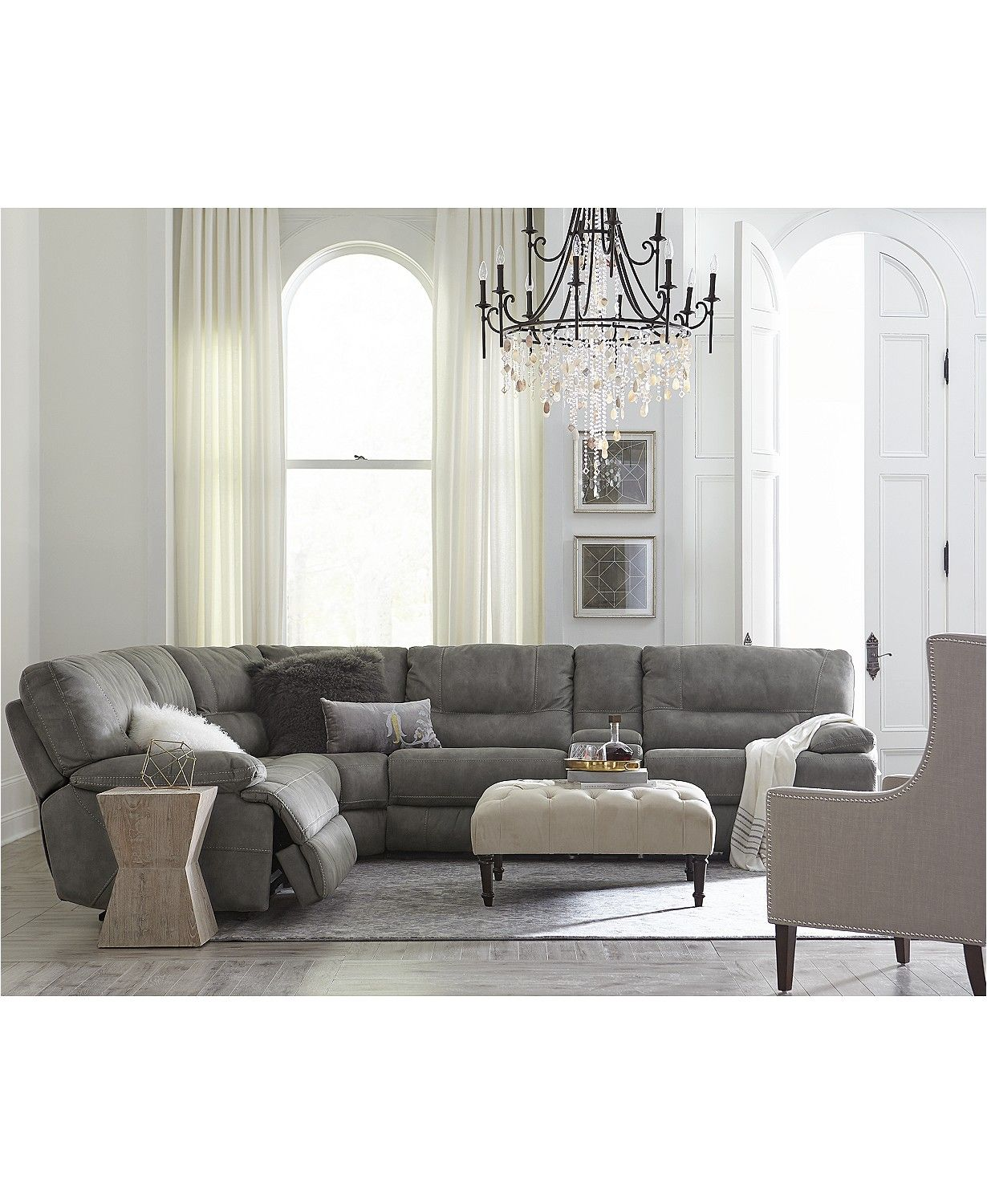 Perfect CLOSEOUT! Liam Fabric Power Reclining Sectional Sofa Collection, Created  For Macyu0027s