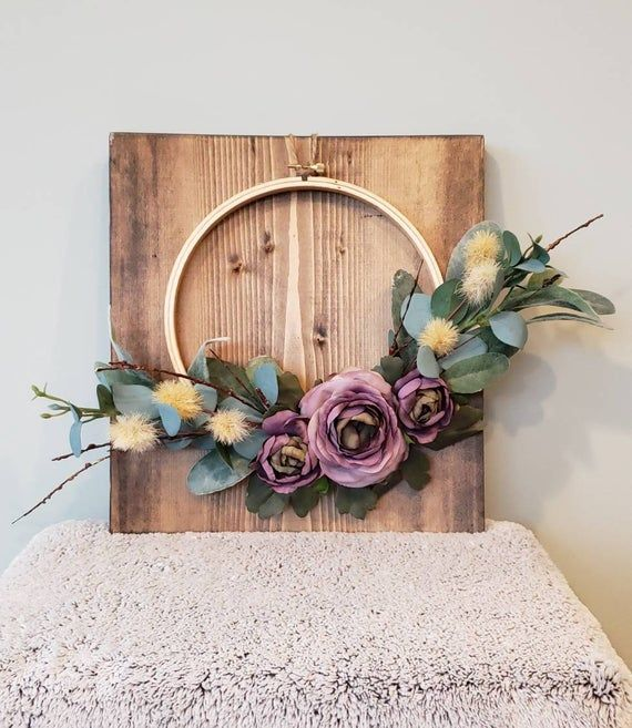 Photo of Hoop wreath wall decor with greenery and purple silk flower home decor front door floral wreath medium wood hoop gift baby, home, hello