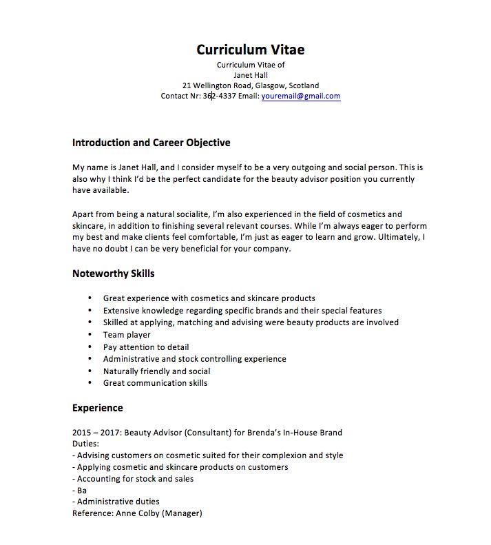 Cv For Makeup Counter Job Medical Assistant Job Description Nurse Job Description Job Description