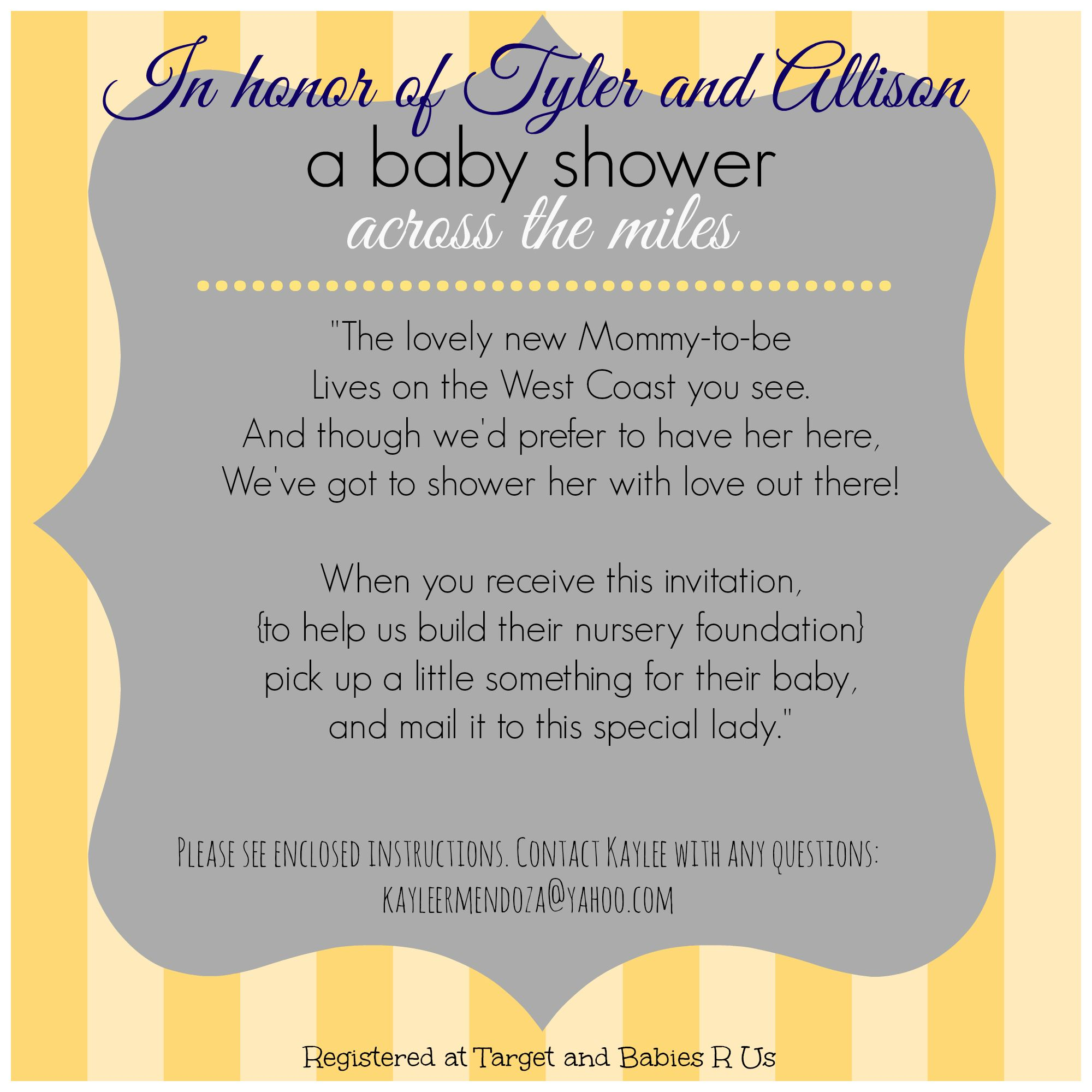 Long Distance Baby Shower Invitation Virtual Baby Shower