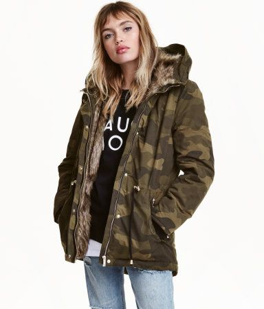f2747b15a8109 Padded Parka | Khaki green/patterned | Ladies | H&M US | I would ...