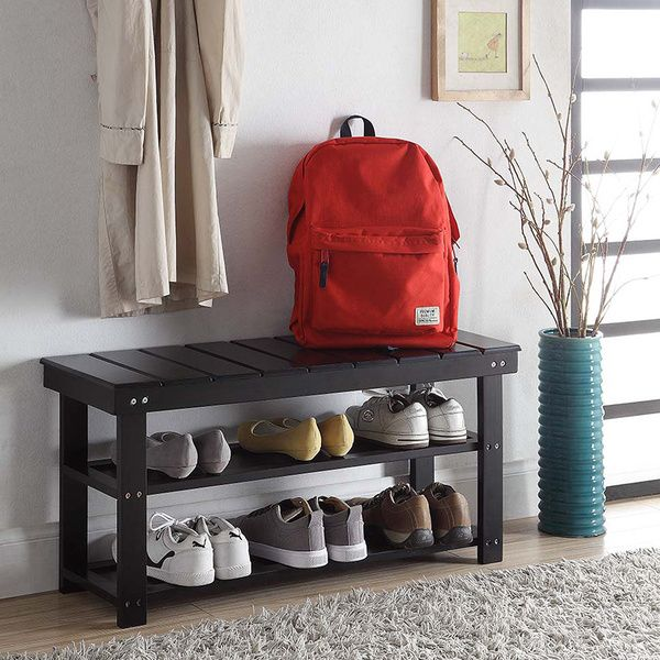 Convenience Concepts Oxford Wood Utility Mudroom Bench with Shoe ...