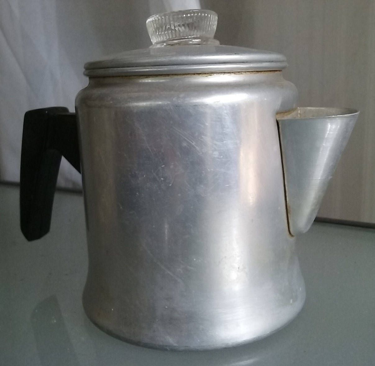 Stove Top Small Aluminum Coffee Pot Percolator Vintage Kitchen