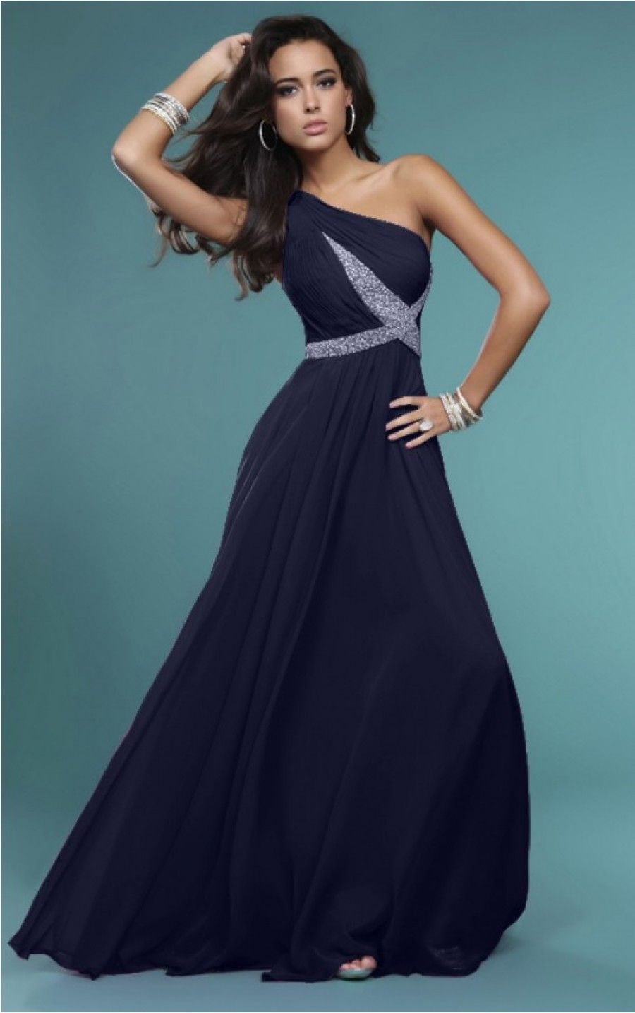 Cheap Dark Navy A-line One Shoulder Chiffon Floor-length Dress ...