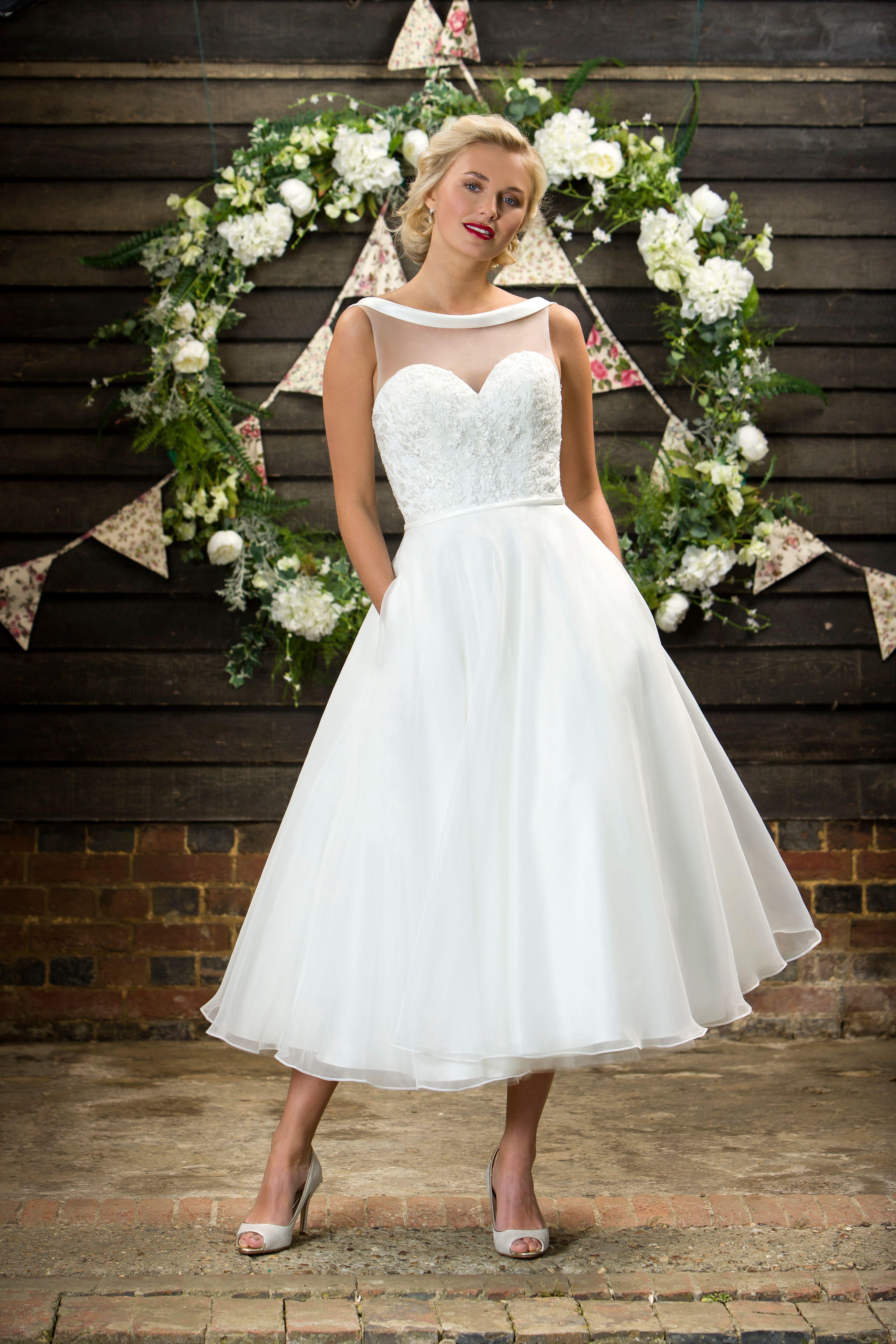 Brighton Belle Mabel Vintage Inspired Wedding Gown Short Bridal Gown Rockabilly Wedding Dresses [ 5000 x 3333 Pixel ]