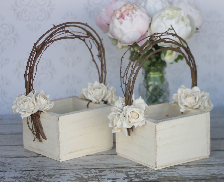 Flower Girl Basket Shabby Chic Wedding Decor SET OF 2 (P10378). $79.98, via Etsy.