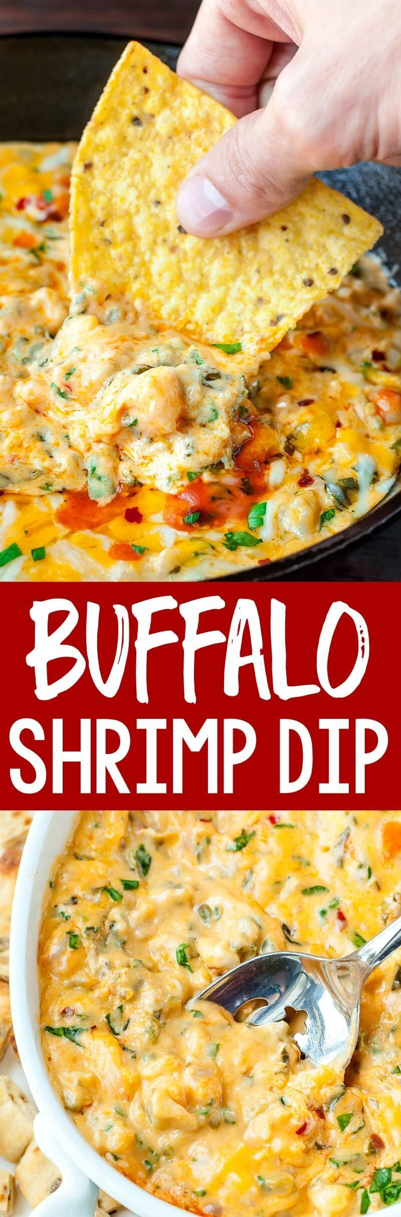Buffalo Shrimp Dip Buffalo Shrimp Dip makes the perfect appetizer! Hot melty cheese with shrimp, veggies, and a kiss of hot sauce? Perfection! This easy cheesy dip is perfect for parties or potlucks and the leftovers make an amazing seafood quesadilla! LOVE IT SO! #buffaloshrimp