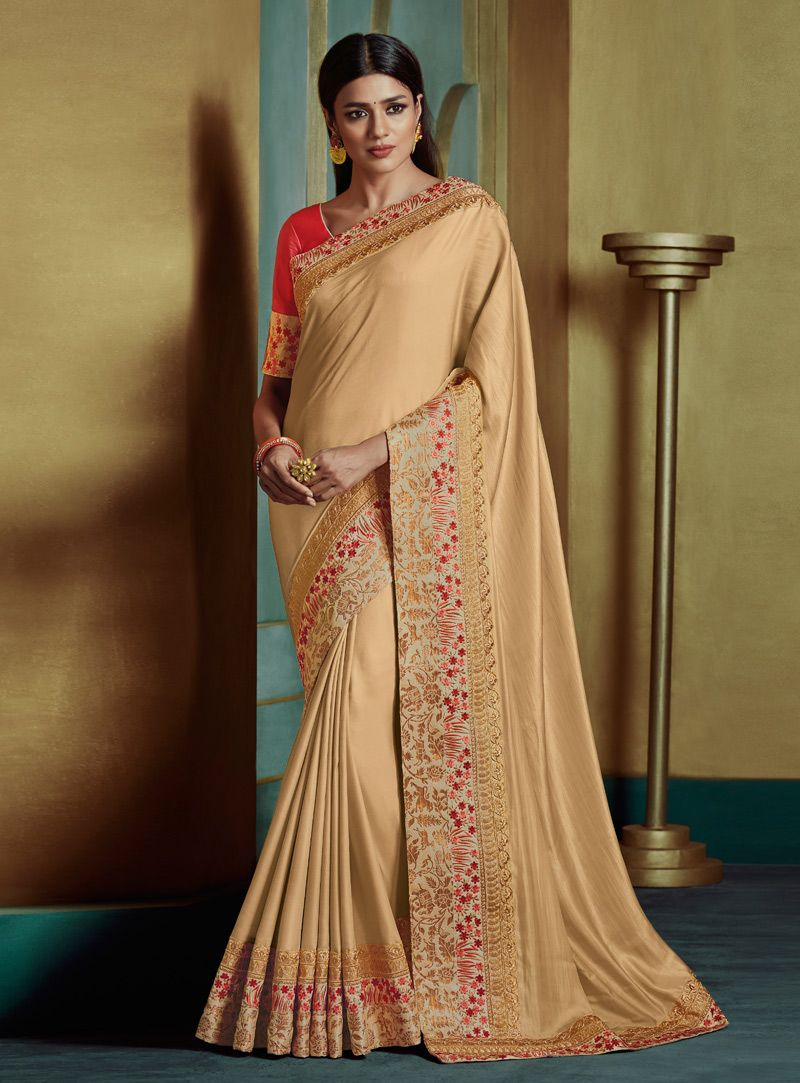 07f0815558 Buy Beige Art Silk Saree With Blouse 144271 with blouse online at lowest  price from vast collection of sarees at Indianclothstore.com.