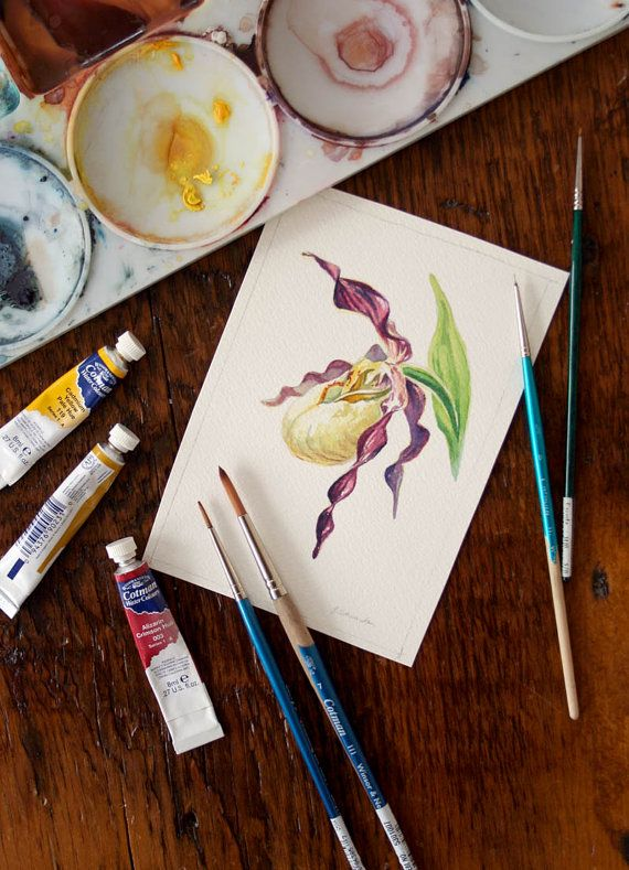 Orchid Flower Watercolor Ladies Slipper Wild Orchid Watercolor Study 3. $40,00, via Etsy.