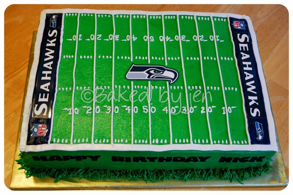 Cake Decorating Football Field : Seattle Seahawks Birthday Cake - I found pictures online ...