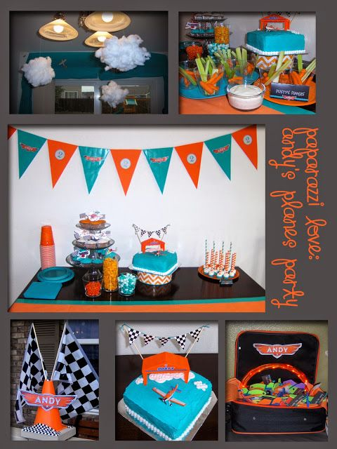Paparazzi Love Planes Birthday Party for Andy Orange and Teal