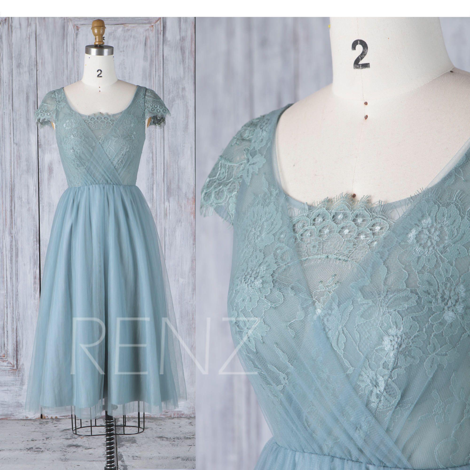 Dusty blue tulle bridesmaid dressscoop neck wedding dresscap
