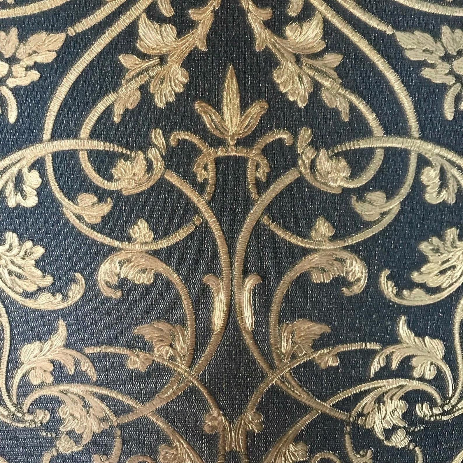 Wallpaper Victorian vintage Damask navy blue black gold