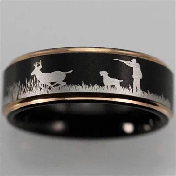 New Men S Black Gold Trimmed Tungsten Carbide Scenic Deer Hunter Dog Ring Bands Wedding Rings Dad