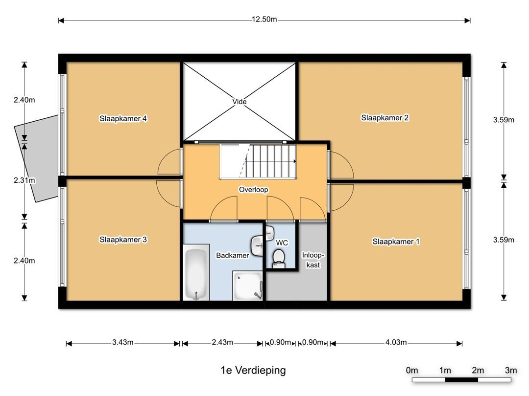 indeling bovenverdieping met 4 slaapkamers, apart toilet, badkamer ...