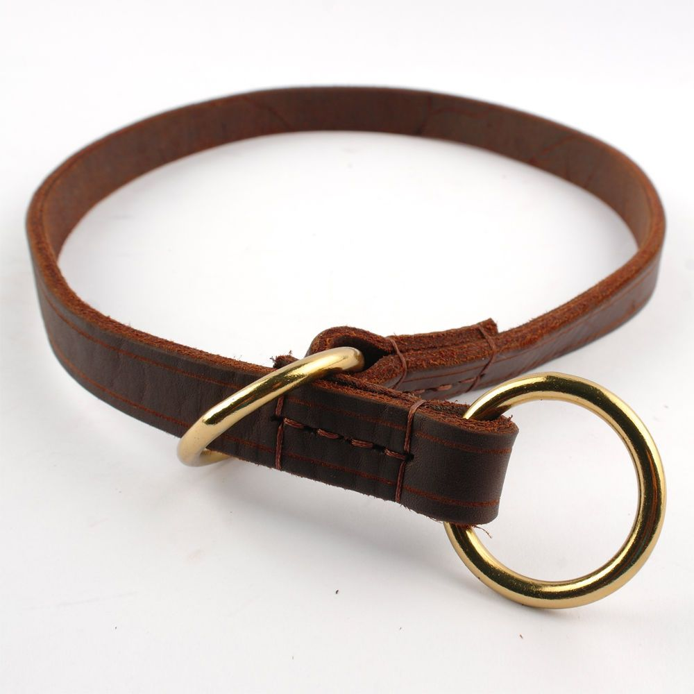 Genuine Leather Slip Dog Training Collars Necklace For Small