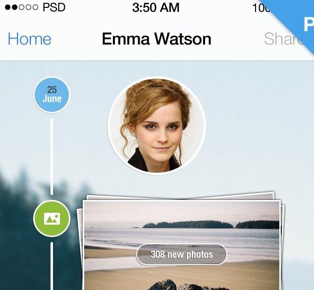 IPhone 5 IOS 7 Style Timeline PSD