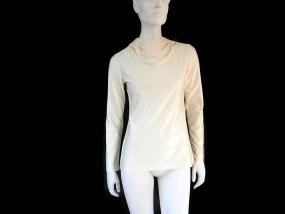 French Designer Clothing | Lanvin Winter White Blouse With Cowel Neckline French Designer