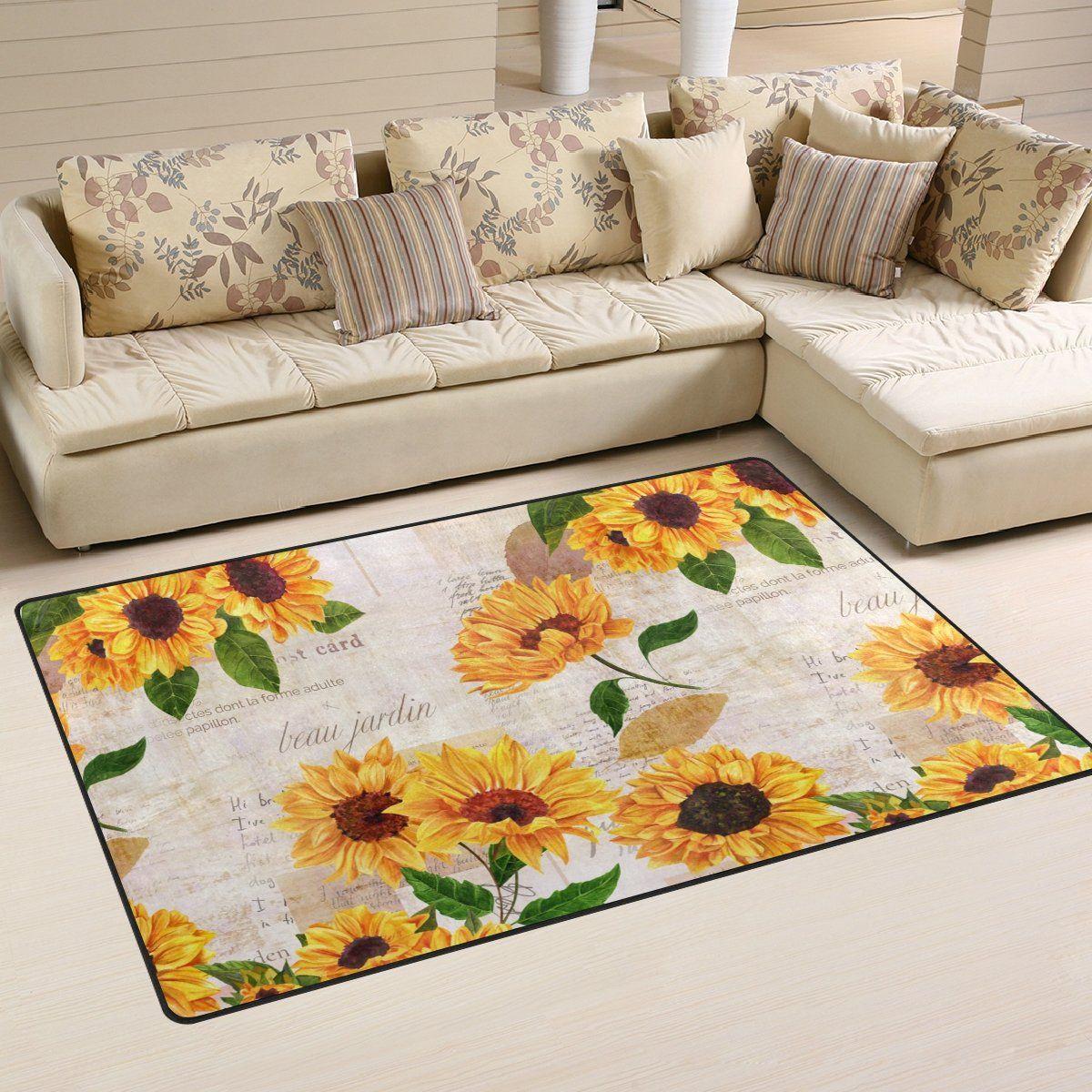 Yochoice Nonslip Area Rugs Home Decor Vintage Yellow Watercolor Sunflower Floral Floor Mat Living Room Bedroom Carp Dinning Room Decor Bedroom Carpet Area Rugs #sunflower #rugs #for #living #room