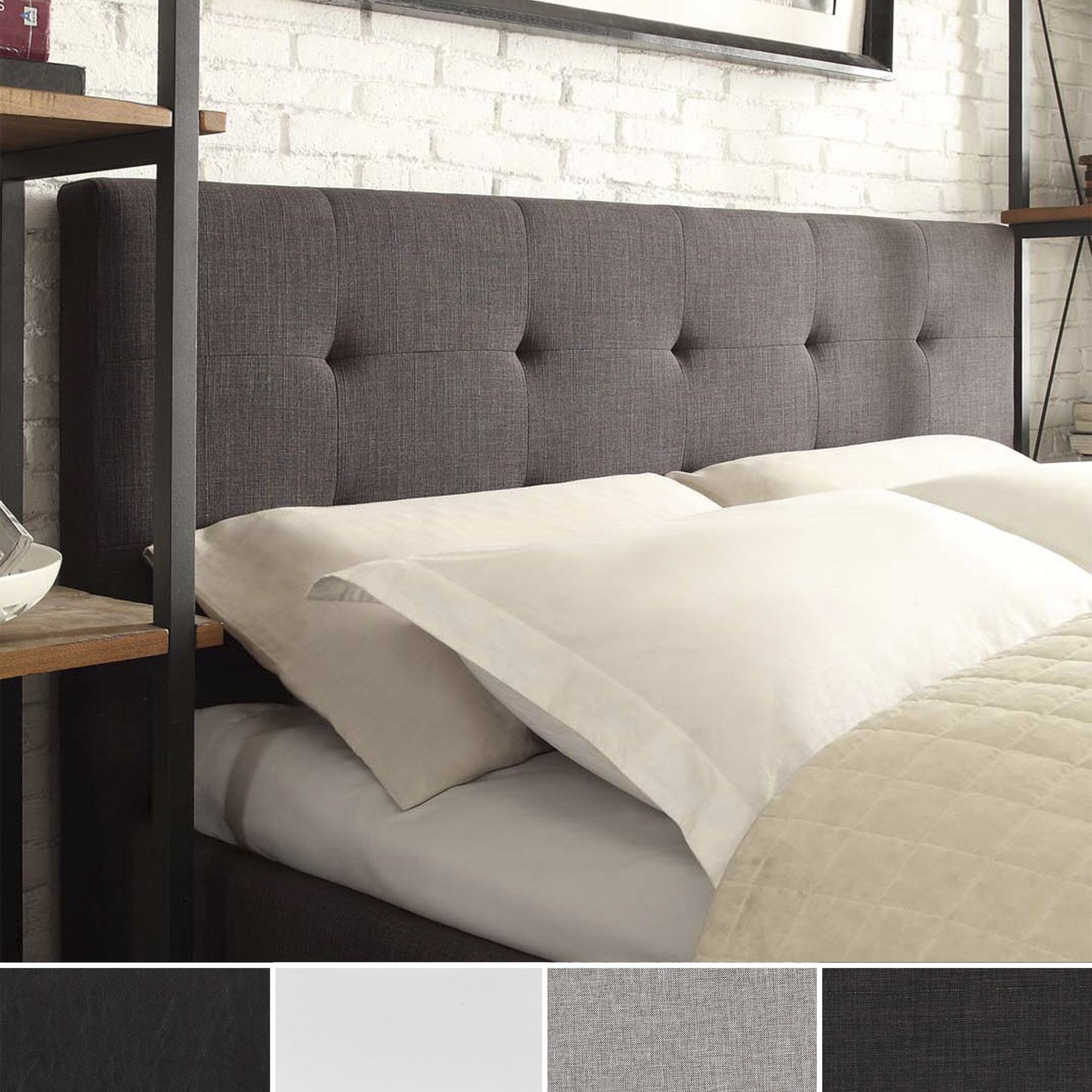 The tufted button low profile headboard design emphasizes the low sleek and chic of this elegant collection transform the look of your master or guest